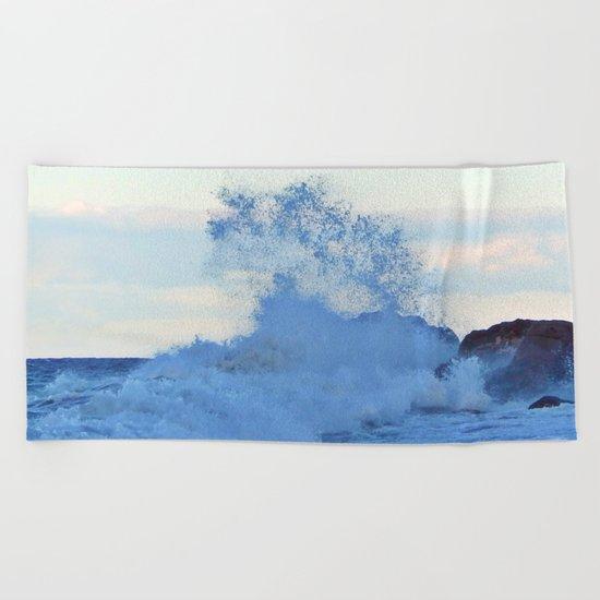 Exploding Surf  Beach Towel