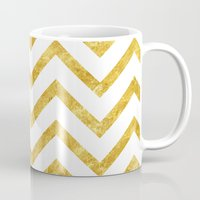 gold foil Mugs featuring Gold Foil Chevron by NeoQlassical