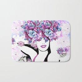 BEAUTIFUL GIRL WITH FLOWERS Bath Mat