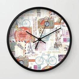 Paris Pattern 1 World Travel Wall Clock