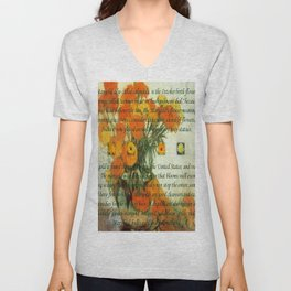October's Child Birthday Card with Text and Marigolds Unisex V-Neck