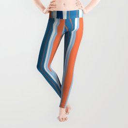 Mid Century Modern Vintage Inspired Stripes in Classic Blues and Muted Orange Leggings