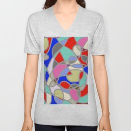 Stain Glass Abstract Meditation Painting 1 Unisex V-Neck