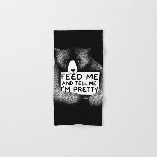 Feed Me And Tell Me I'm Pretty Bear (black) Hand & Bath Towel