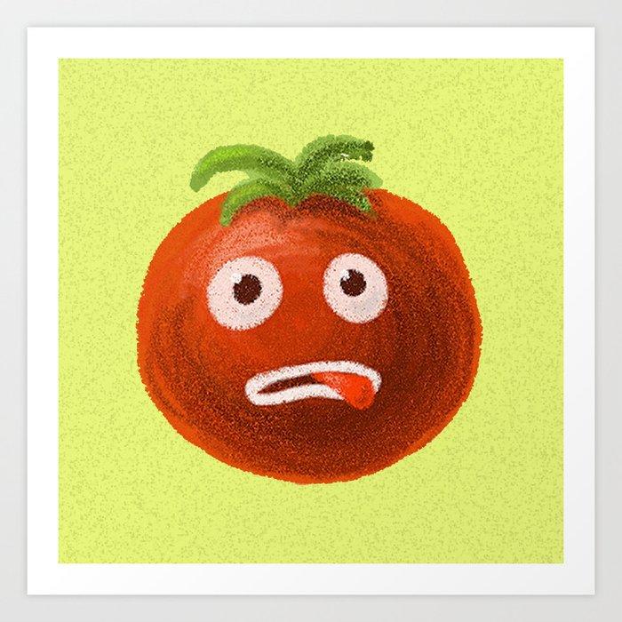 Funny Cartoon Tomato Art Print