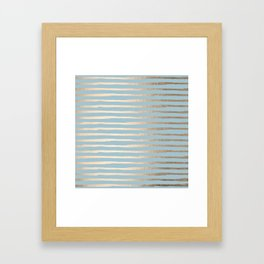 Abstract Stripes Gold Tropical Ocean Sea Blue Framed Art Print