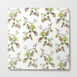 Camellia Inspired Flower Branch Metal Print
