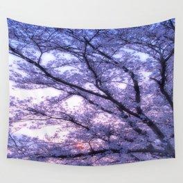 Periwinkle Lavender Flower Tree Wall Tapestry