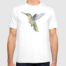 Hummingbird Watercolor Bird Animal Mens Fitted Tee White MEDIUM