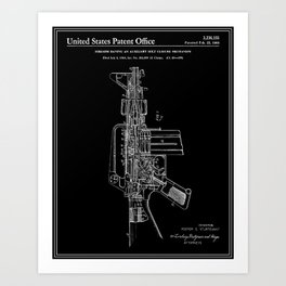 vAR-15 Semi-Automatic Rifle Patent - Black Art Print