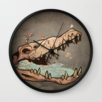 animal skull Wall Clocks featuring Animal Skull and birds by Paula Belle Flores