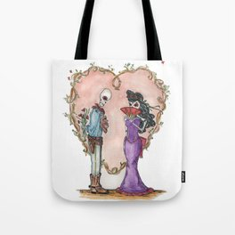 Day of the Dead sugar skulls Dead Lovers in a floral heart Tote Bag
