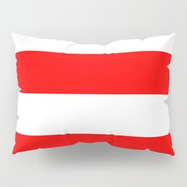 Wide Horizontal Stripes - White and Red Pillow Sham