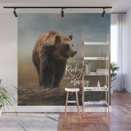 Grizzly On The Rocks Wall Mural