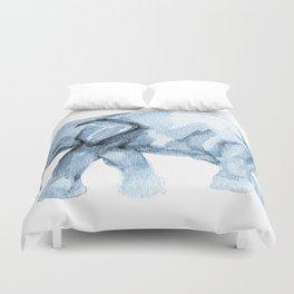 Elephant Sketch in Blue Duvet Cover