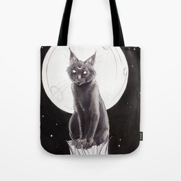 Black Cat and the Moon Tote Bag