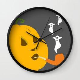Halloween Smoking Jack o Lantern Wall Clock
