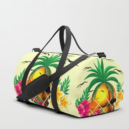 Pineapple Tropical Sunset, Palm Tree and Flowers Duffle Bag