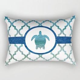 Turtle: Tropical Water Moroccan Pattern Rectangular Pillow