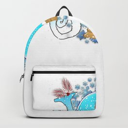 Christmas JOY Funny Gnome In Snow Globe Snowflakes Gnomie Backpack