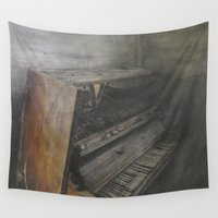 piano Wall Tapestries featuring Piano by Claudia Ma