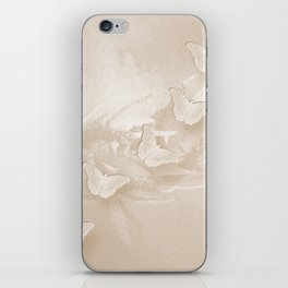 Fabulous butterflies and wattle with textured chevron pattern in subtle iced coffee iPhone Skin