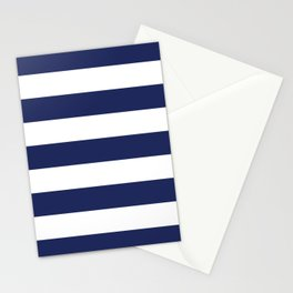Navy Blue and White Stripes Stationery Cards