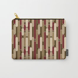 Modern Tabs in Brown, Burgundy and Tan Carry-All Pouch