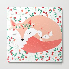 Mom and Baby Fox, Woodland, Floral Nursery, Peach and Mint Metal Print