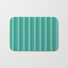 Tanager Turquoise, Teal Blue and Kelly Green Repeat Striped Pattern Bath Mat