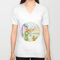 le petit prince V-neck T-shirts featuring Le petit prince by Colorful Simone