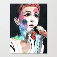 hayley williams Canvas Prints featuring Hayley Williams by alice kasper