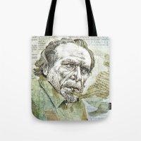 bukowski Tote Bags featuring Charles Bukowski by Nina Palumbo Illustration