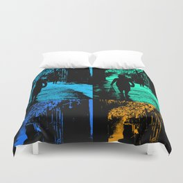 Blue party in the village Duvet Cover