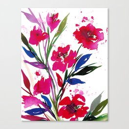 POCKETFUL OF POSIES 1, Colorful Summer Watercolor Floral Painting Abstract Red Blue Pink Flowers Art Canvas Print