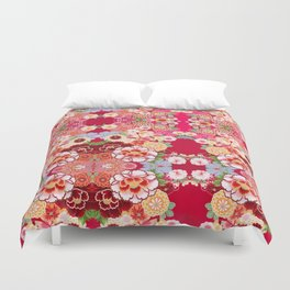 Red Floral Burst Duvet Cover