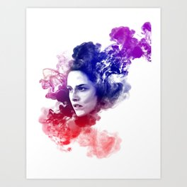Kristen Stewart Splash Watercolor Portrait Art Print