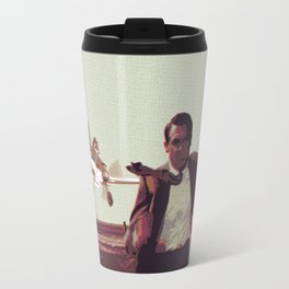 Airplane on field Travel Mug
