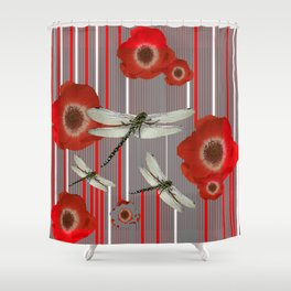 AWESOME DRAGONFLIES & RED POPPY FLOWERS ART Shower Curtain