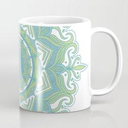 Blue and Green Flower Mandala II Coffee Mug
