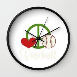 Sports Gamechanger Pitcher Catcher Collection Title: Peace Love Baseball Bat Sport Homerun Softball Wall Clock