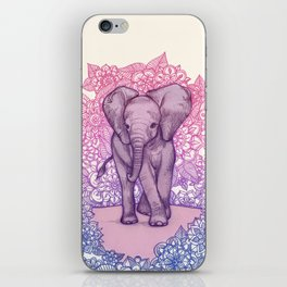 Cute Baby Elephant in pink, purple & blue iPhone Skin