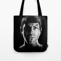 spock Tote Bags featuring Spock by Sarah Riebe