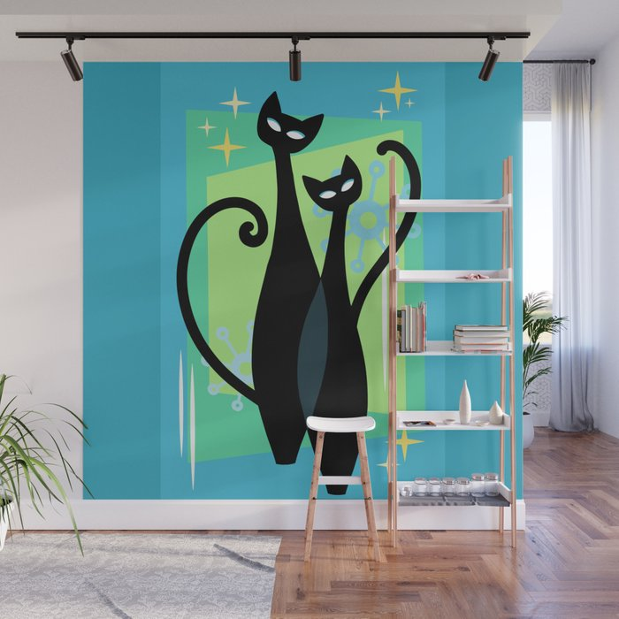 Sassy Sparkling Atomic Age Black Kitschy Cats Wall Mural
