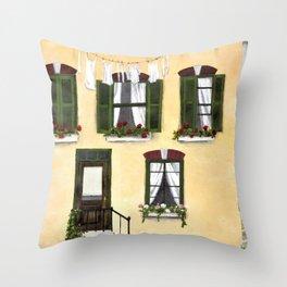 European Apartment, Clothes line, Green Shutter, Birds and Berry Studio Throw Pillow