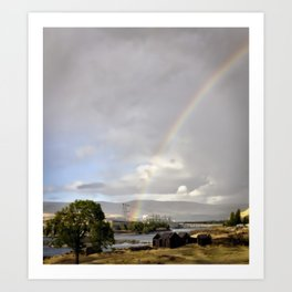 The Dalles Oregon - Rainbow Over The Dalles Dam Art Print