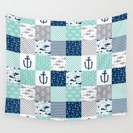 Nautical anchors sharks whales quilt cheater quilt nursery pattern art Wall Tapestry