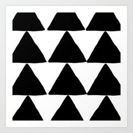 Mountains - Black and White Triangles Art Print