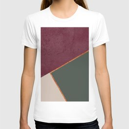 Burgundy Olive Green Gold and Nude Geometric Pattern #society6 #buyart T-shirt