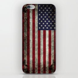 American Flag, Old Glory in dark worn grunge iPhone Skin